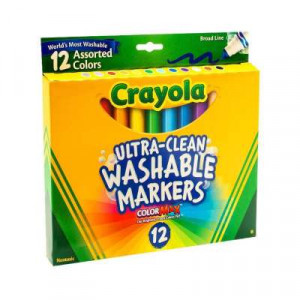 CRAYOLA Broad Line Ultra Clean Washable Markers 12